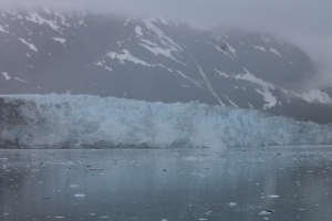 Marjorie Glacier rising out of the mist