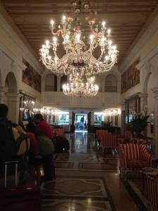 Lobby of Venezia Boscolo.  Murano glass chandelier.